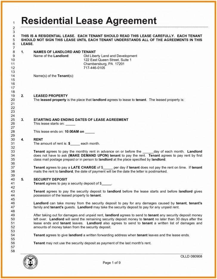 Landlord Tenant Agreement Form Pdf