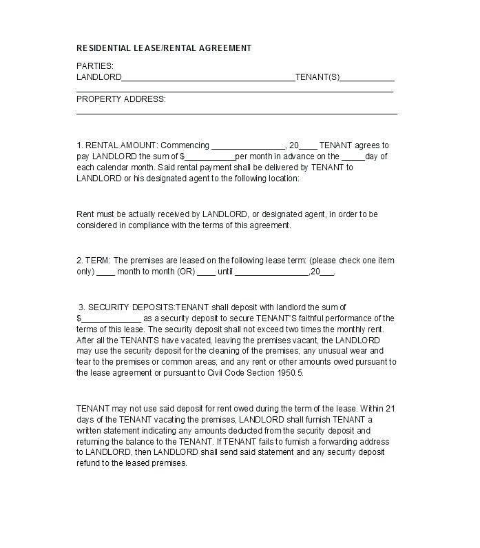 Landlord Tenant Agreement Form Uk