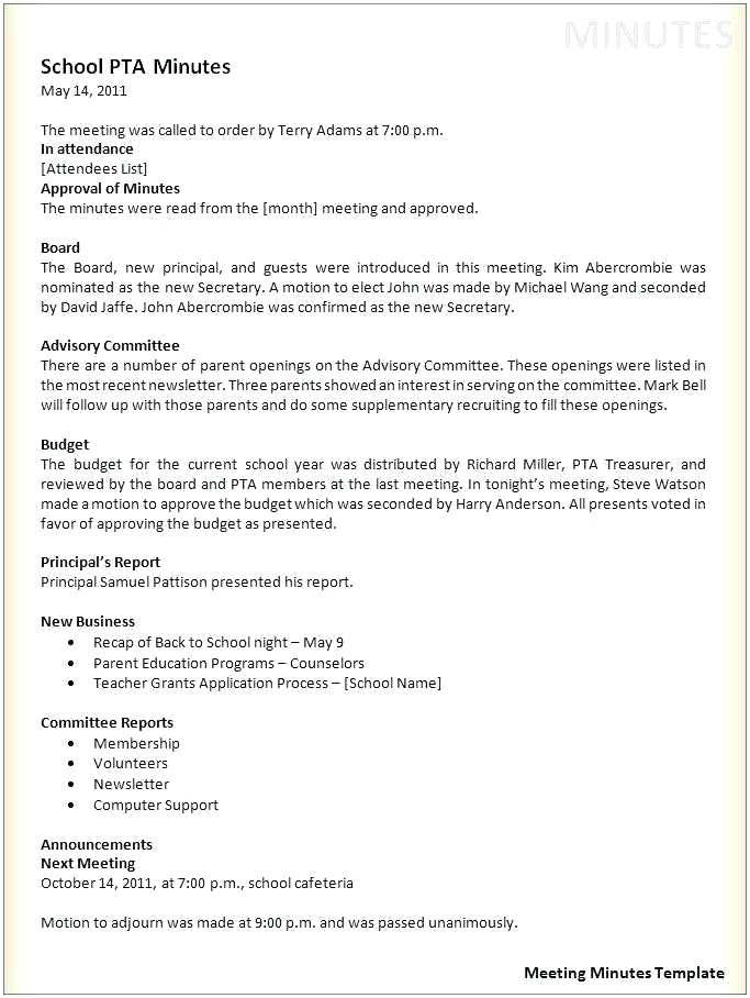 Meeting Minutes Template Word Free