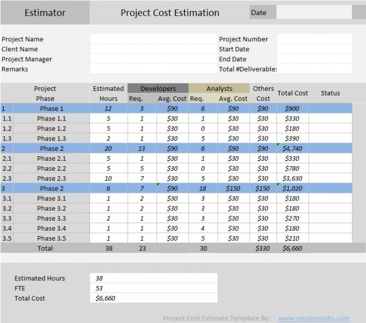 Microsoft Excel Cost Estimate Template