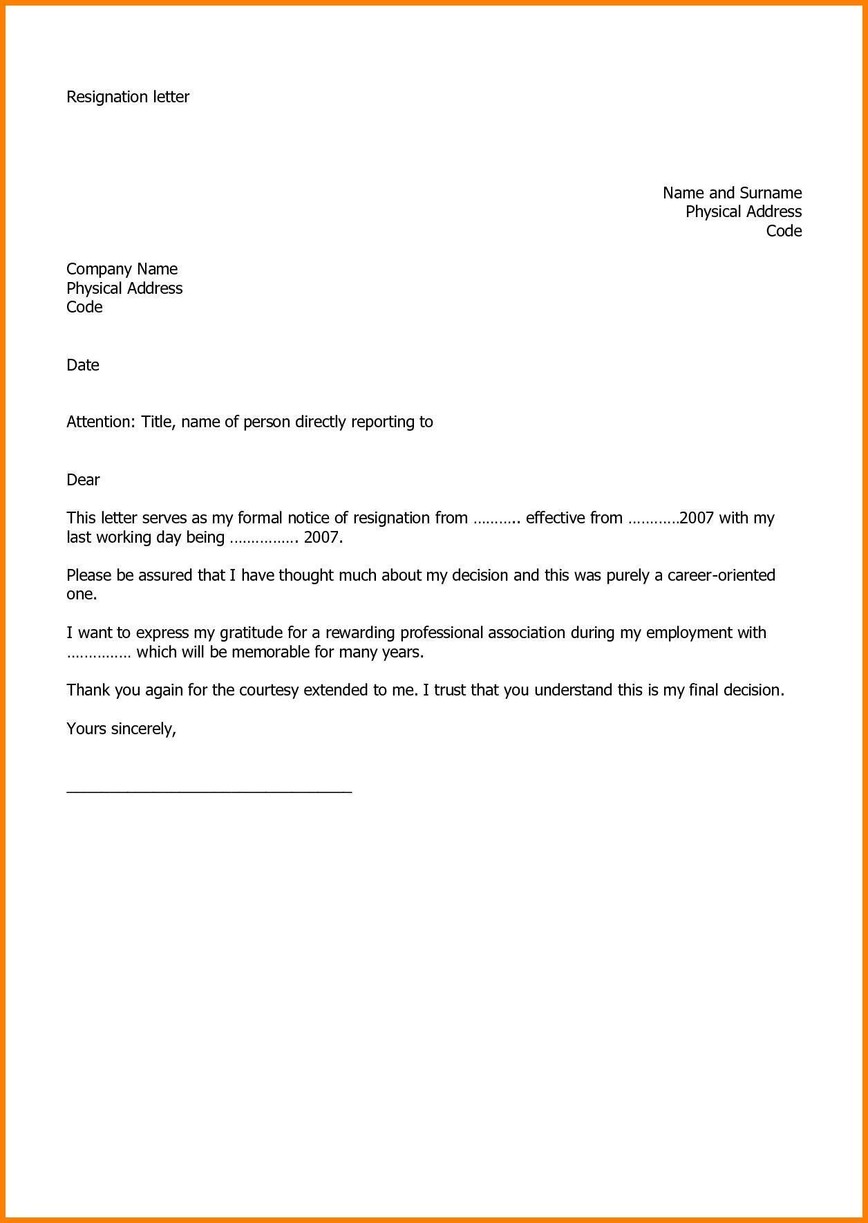 Microsoft Free Resignation Letter Template