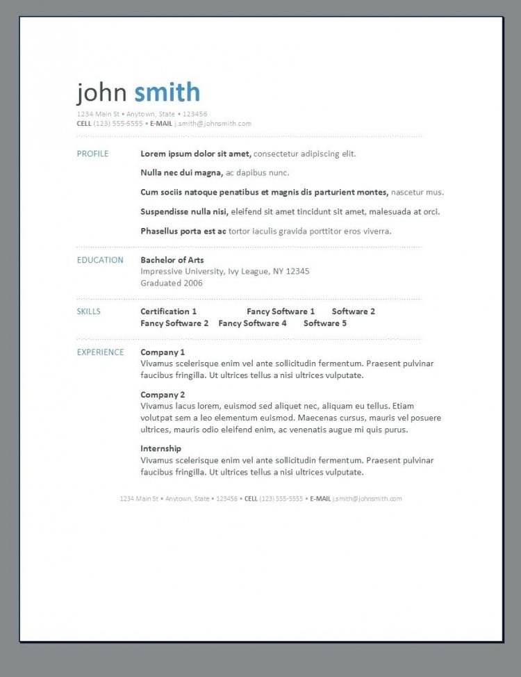 Modern Resume Template Doc Free Download