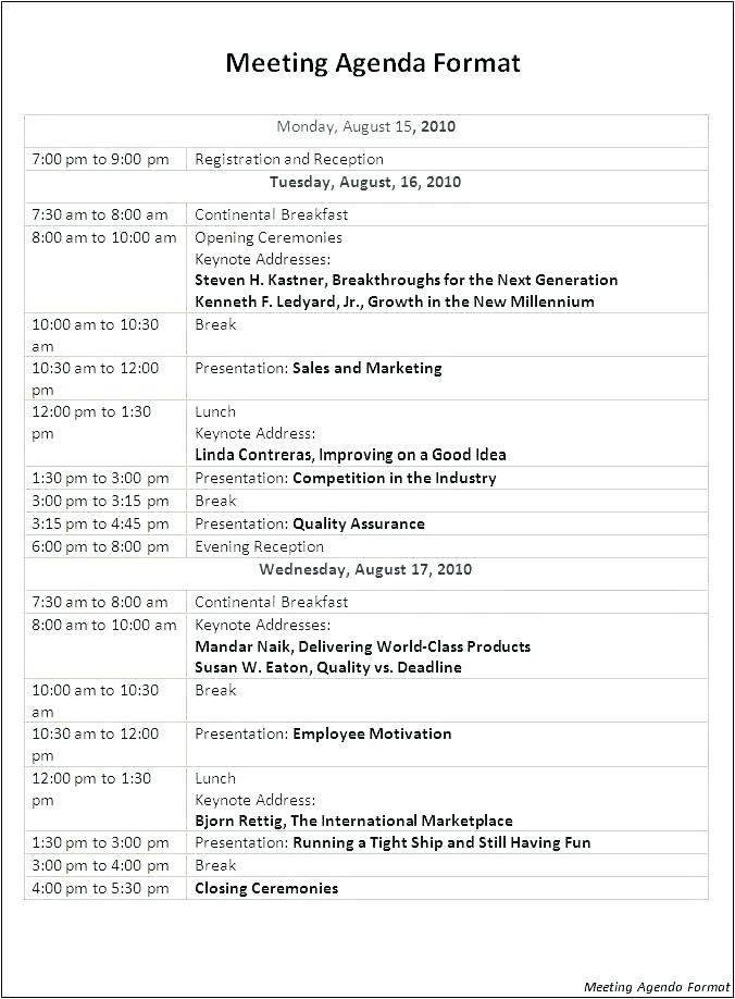 National Sales Meeting Agenda Template