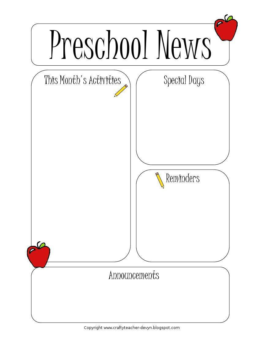 Newsletter Templates For Preschool