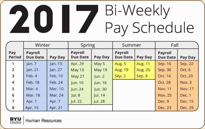 Payroll Calendar Template 2017