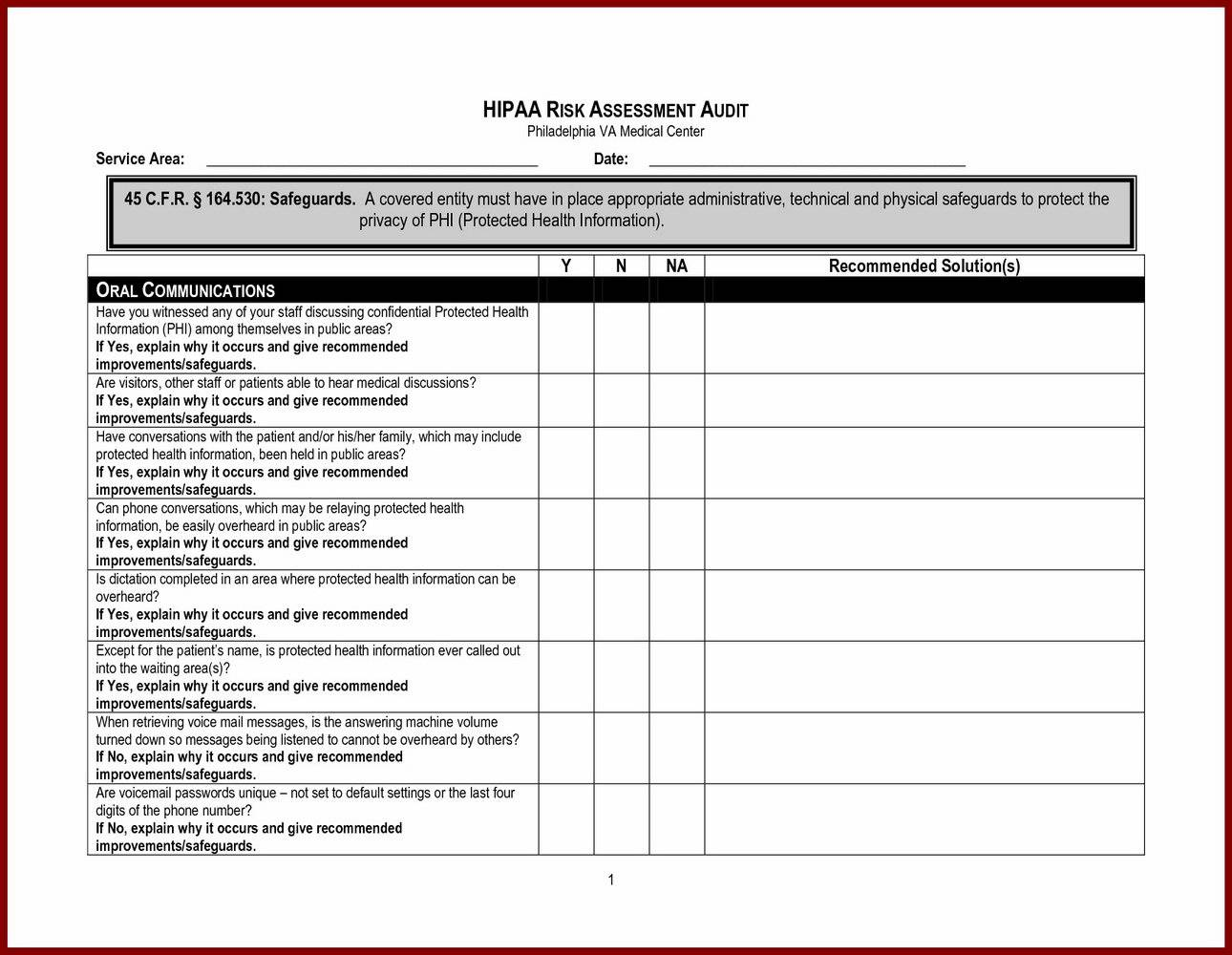 Pci Risk Assessment Template