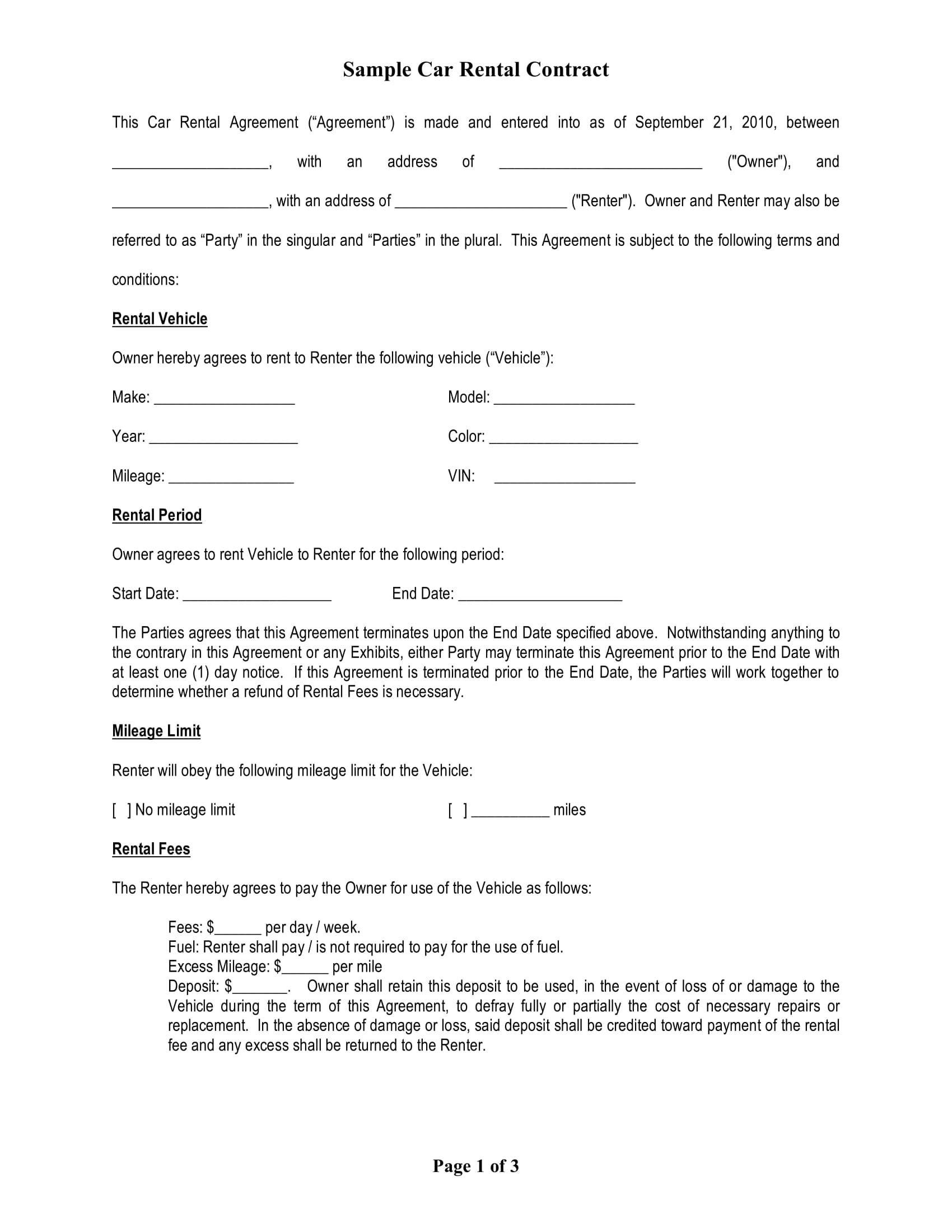 Rental Contract Template Doc