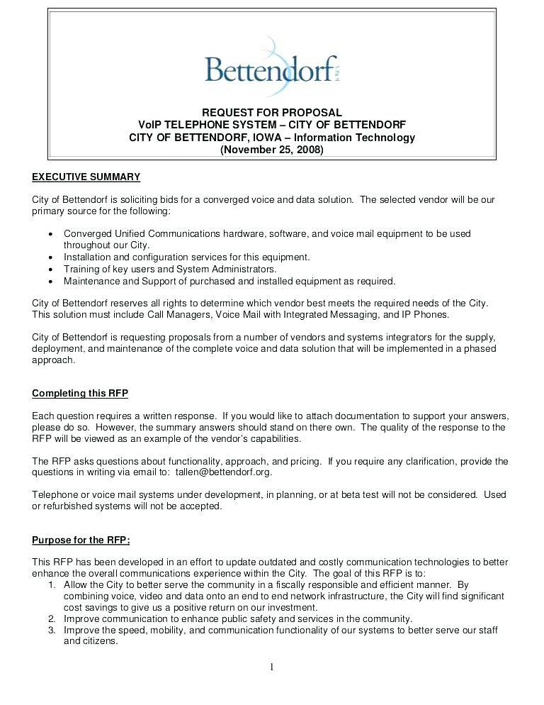Request For Proposal Template For Cleaning Services
