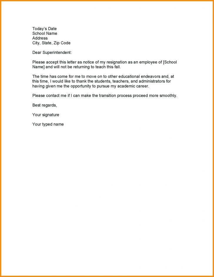 Resignation Letter Template Teacher