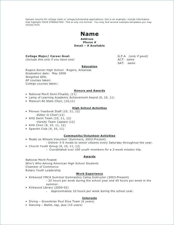 Resume Templates For Highschool Students Australia