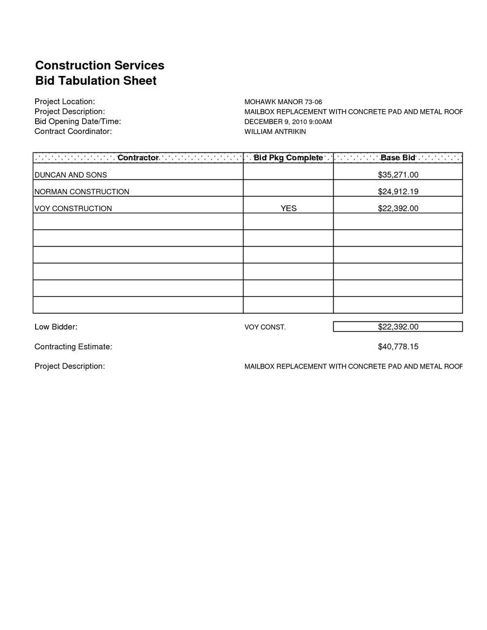 Roofing Estimate Forms Free