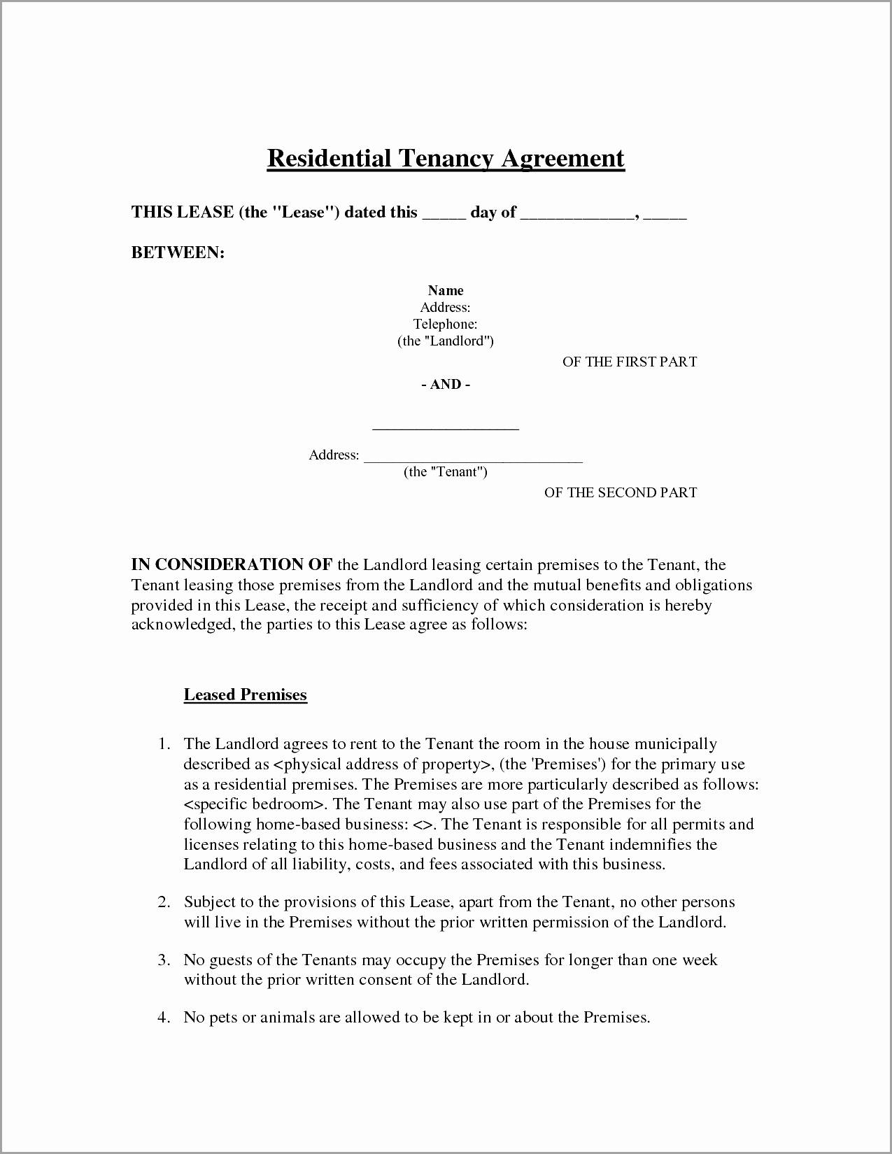 Room Rental Agreement Template South Africa