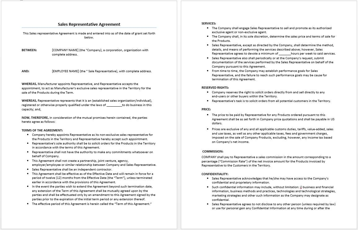Sales Agreement Format Word