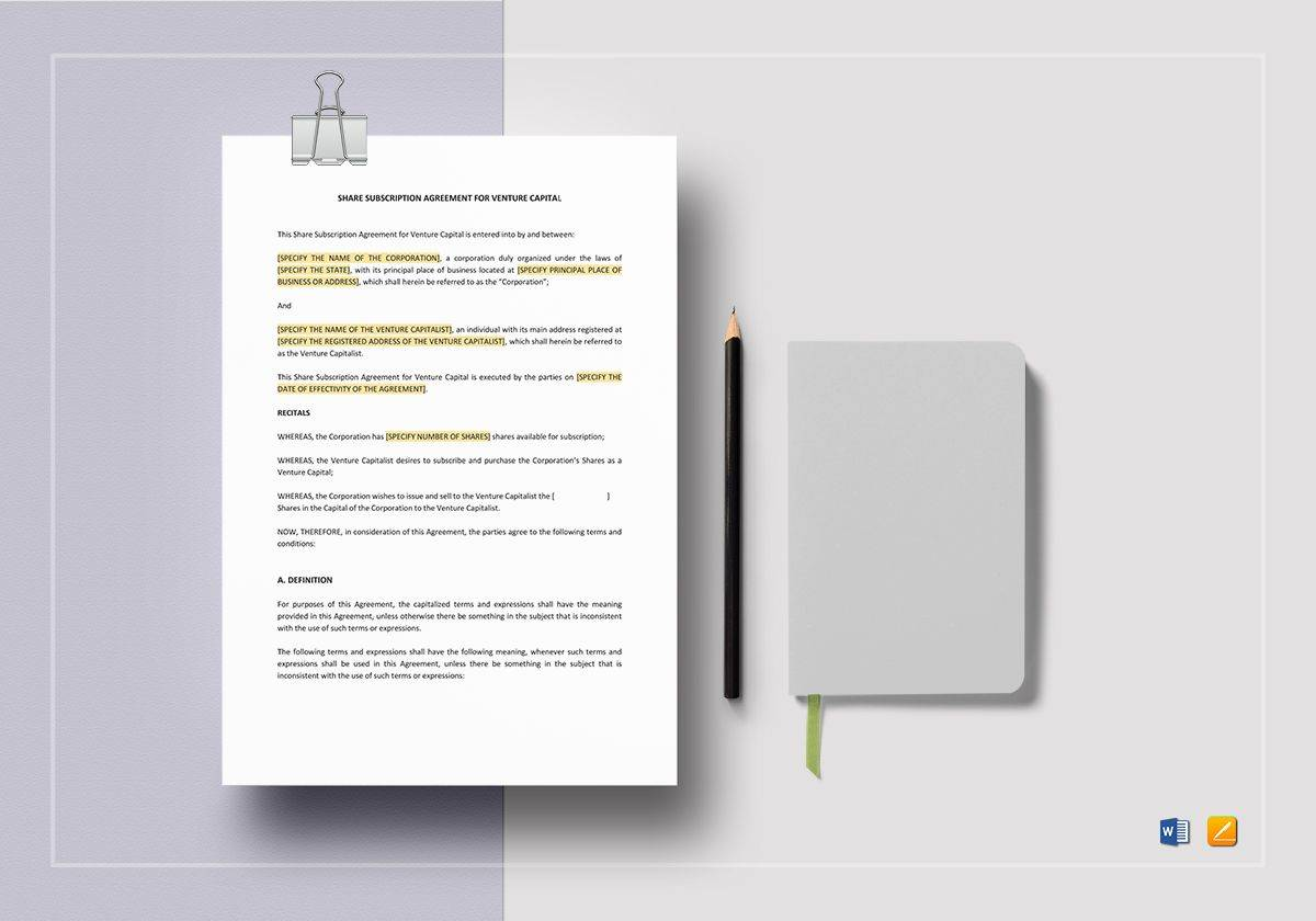 Share Subscription Agreement Template