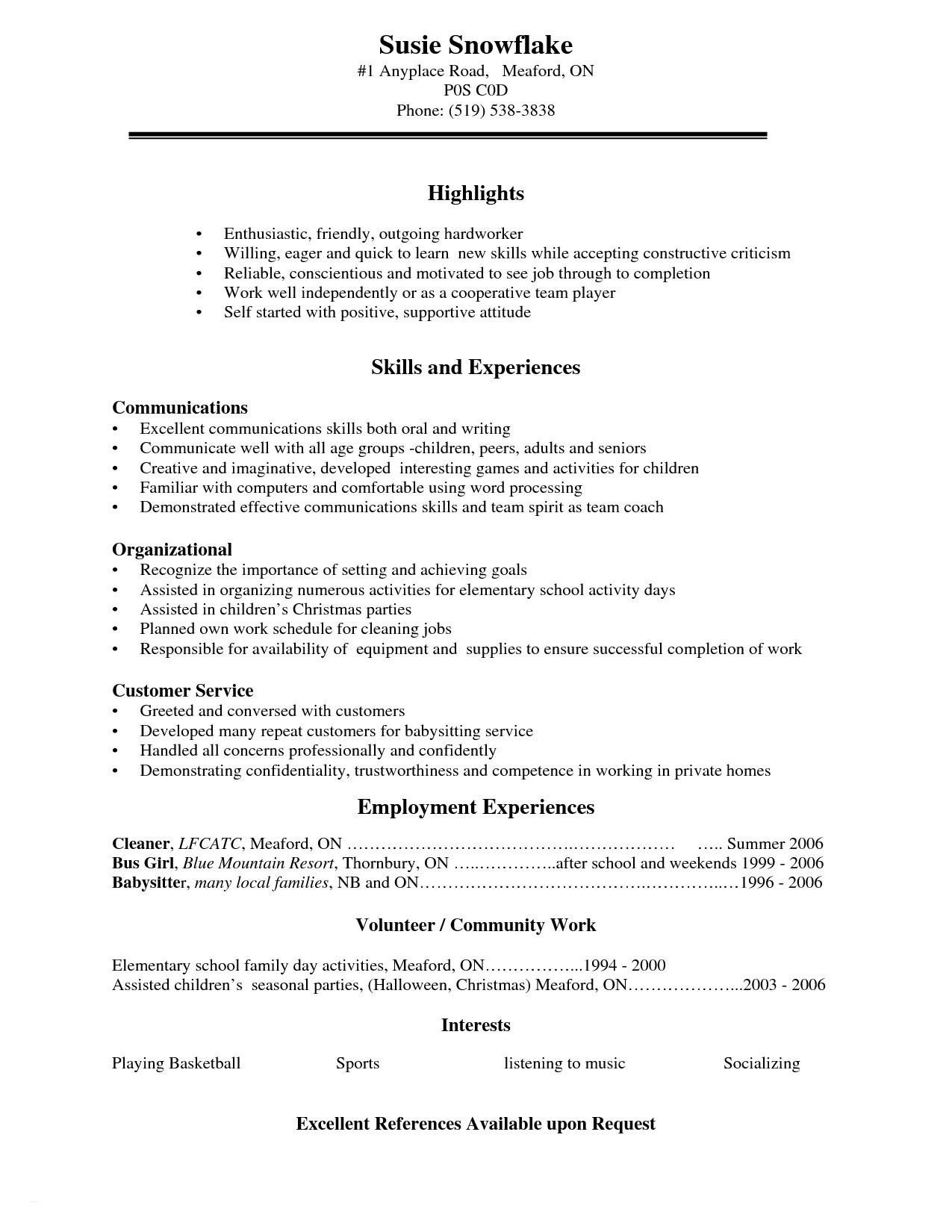 Simple Resume Template For Highschool Students