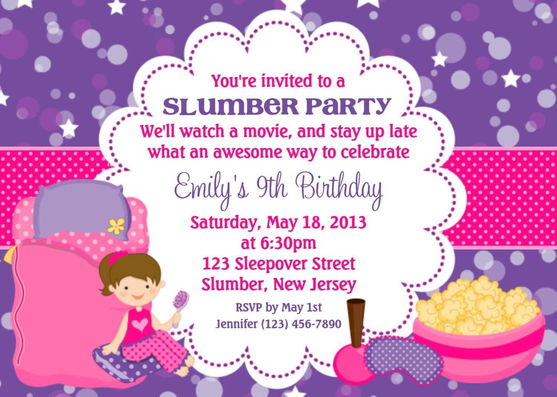 Slumber Party Invitations Templates Free