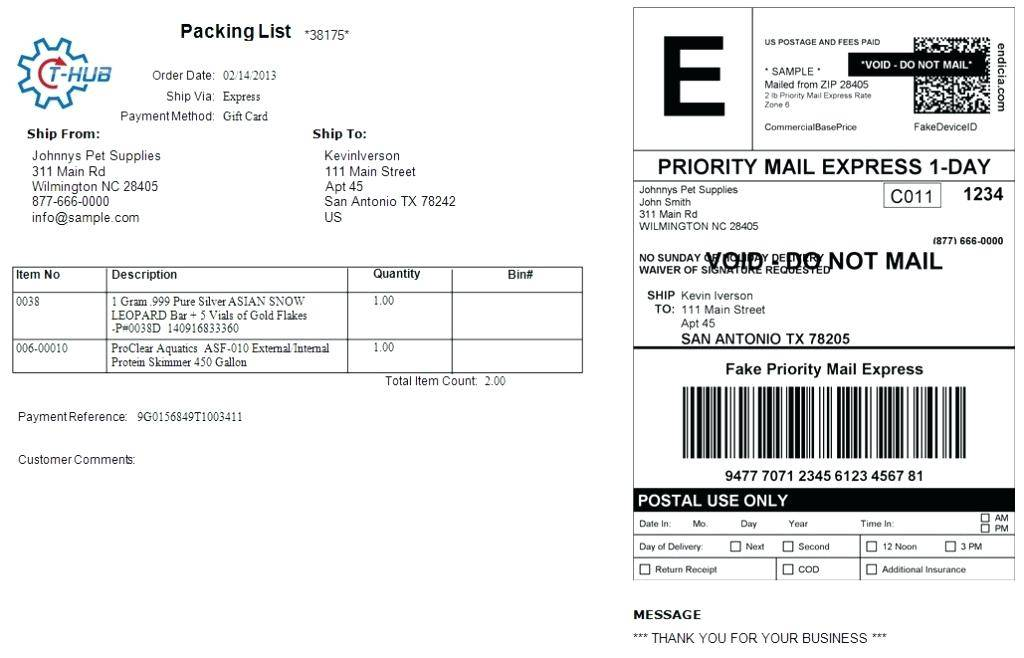 Template For Usps Shipping Label