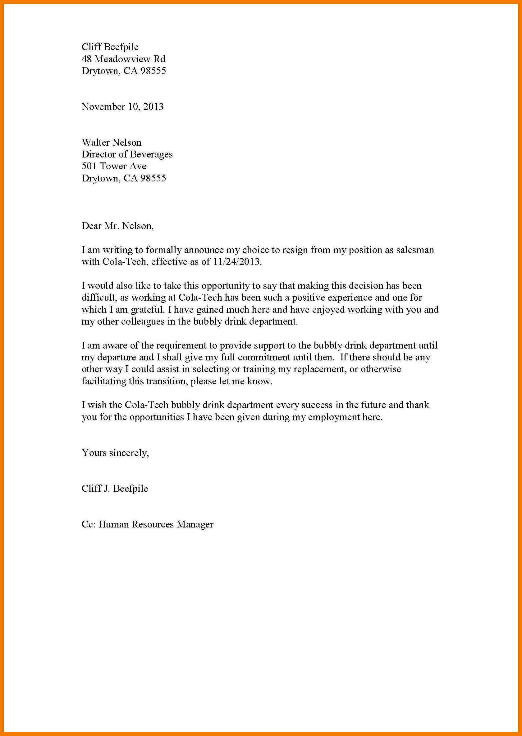 Template To Write Letter Of Resignation
