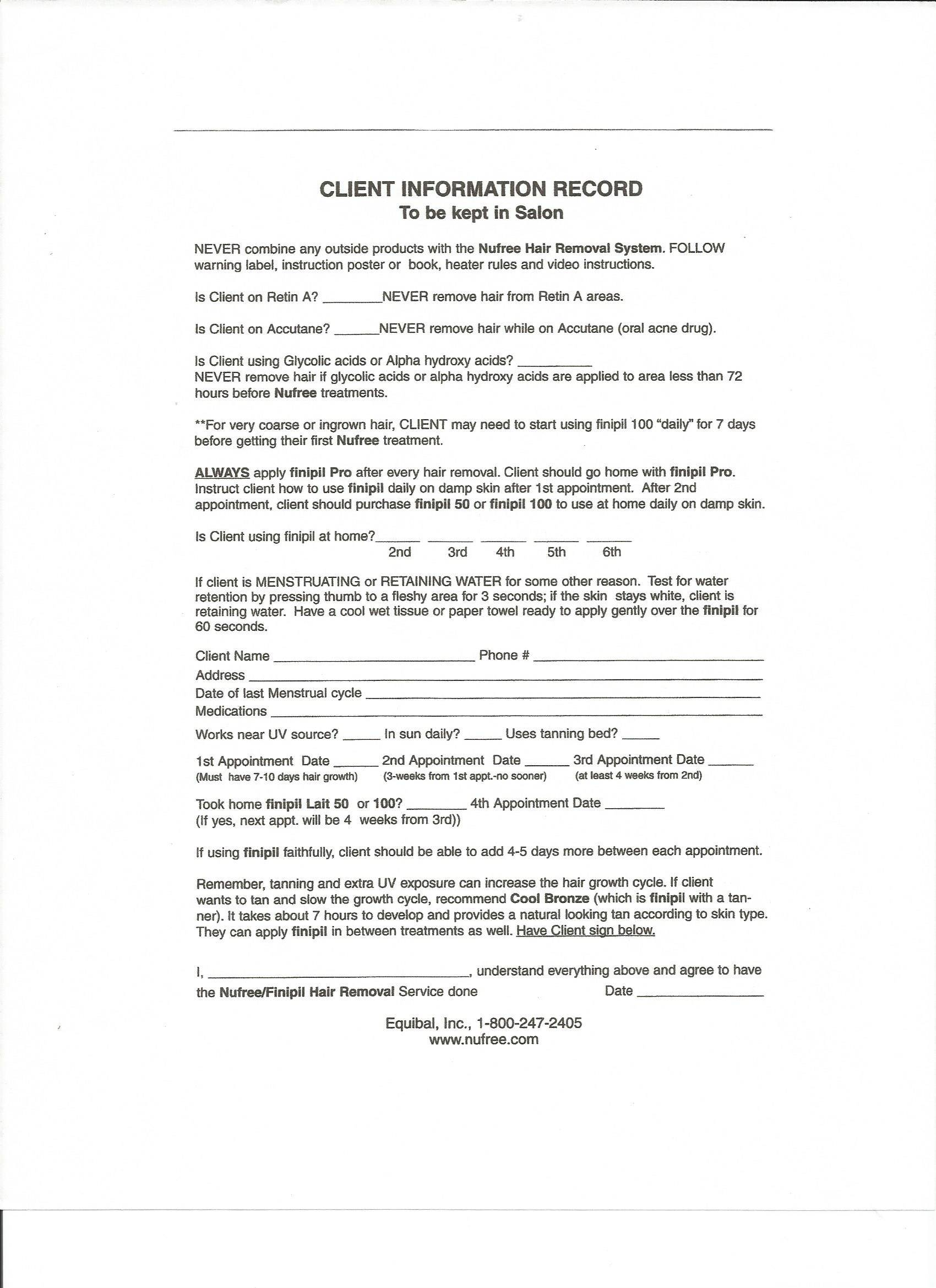 Waxing Client Consultation Form Template