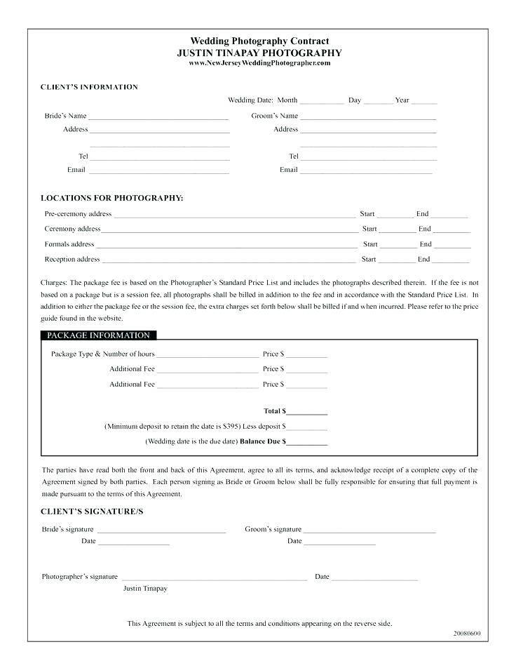 Wedding Photography Contract Template Uk