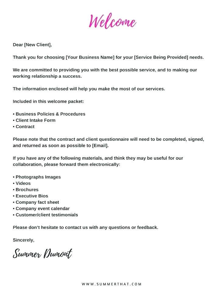 Welcome Letter Template For New Client