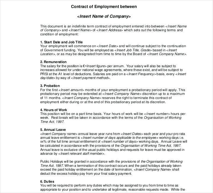 Work Contract Template Singapore