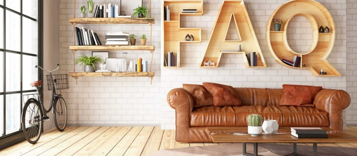 FAQ Shelf with Leather Sofa and Cozy Interior. 3d Render