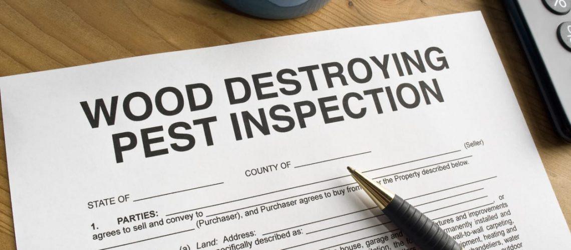 Wood Destroying Pest Inspection paperwork on a desktop