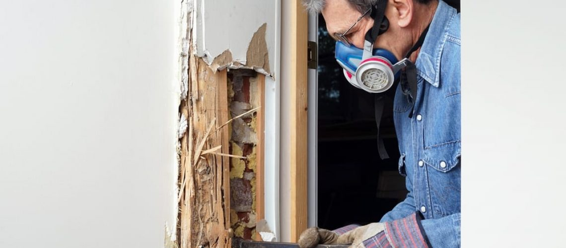 Man,Removing,Wood,Damaged,By,Termite,Infestation,In,House.