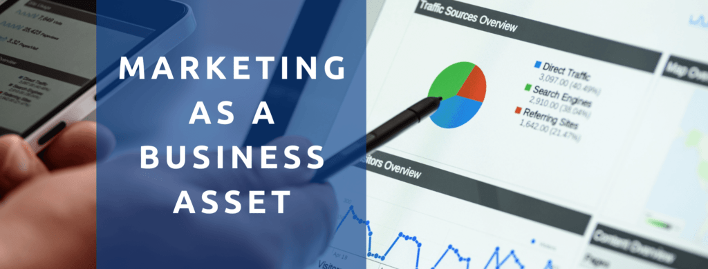 Marketing data on screen as a business asset.