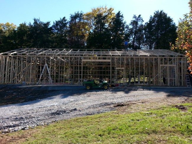 All the trusses finally set.