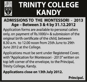 Trinity College Kandy Admission calls to the Montessori