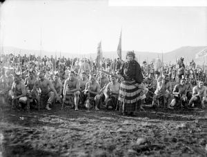 Haka party waiting to perform for the Duke of York, 1901
