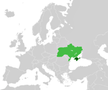 Crimea (dark green), now part of Ukraine (light green) © Wikimedia Commons Atlas of the World