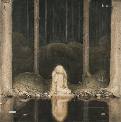 Princess Tuvstarr Gazing Down into the Dark Waters of the Forest Tarn, John Bauer, 1918