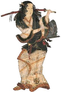 Izumo no Okuni from Okuni Kabuki-zu Byōbu, a six-panel screen, a collection of Kyoto National Museum. Public Domain Image.