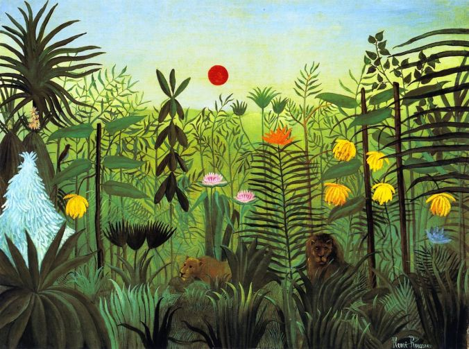 Rousseau, Exotic Landscape with Lion and Lioness in Africa