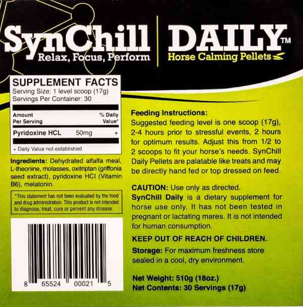 SynChill Daily back label
