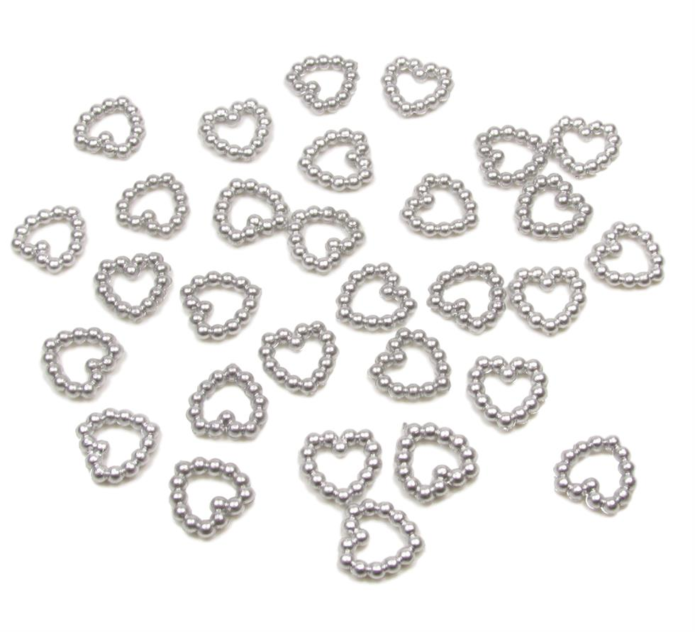 Silver Pearl Heart Shape Bead Double Sided 11mm. Pack of