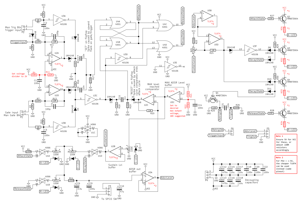 medium resolution of adsr envelope generator module synth diy with mich the complete circuit with pointing out components