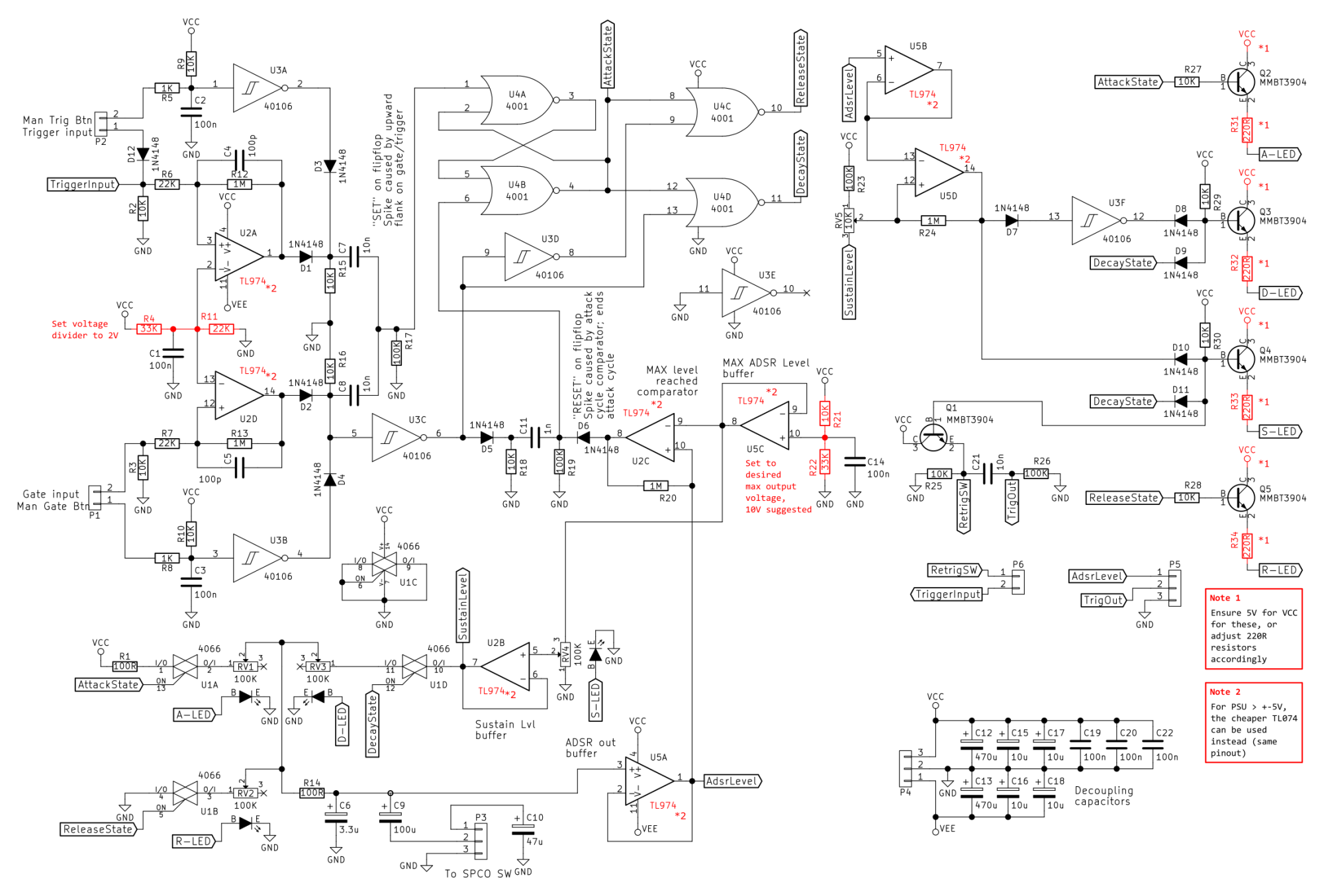 hight resolution of adsr envelope generator module synth diy with mich the complete circuit with pointing out components