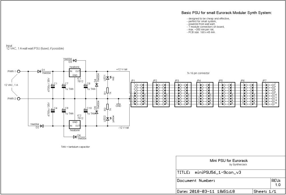 medium resolution of mini modular synth power supply schematic