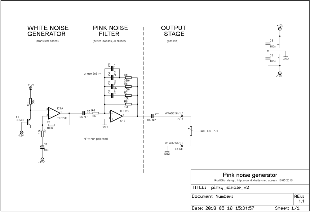medium resolution of pink noise generator with basic filter circuit diagram elliot sound products design