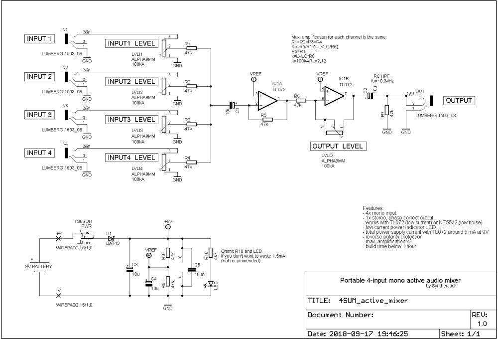 medium resolution of 4sum portable audio mixer syntherjack synth diy source simpleutilitymixer mixer audiocircuit circuit diagram