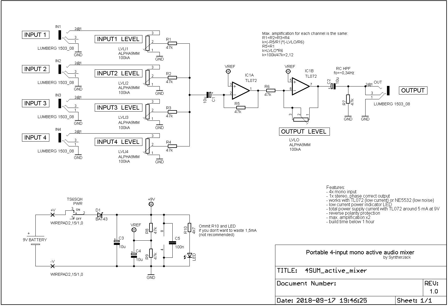 hight resolution of 4sum portable audio mixer syntherjack synth diy source simpleutilitymixer mixer audiocircuit circuit diagram
