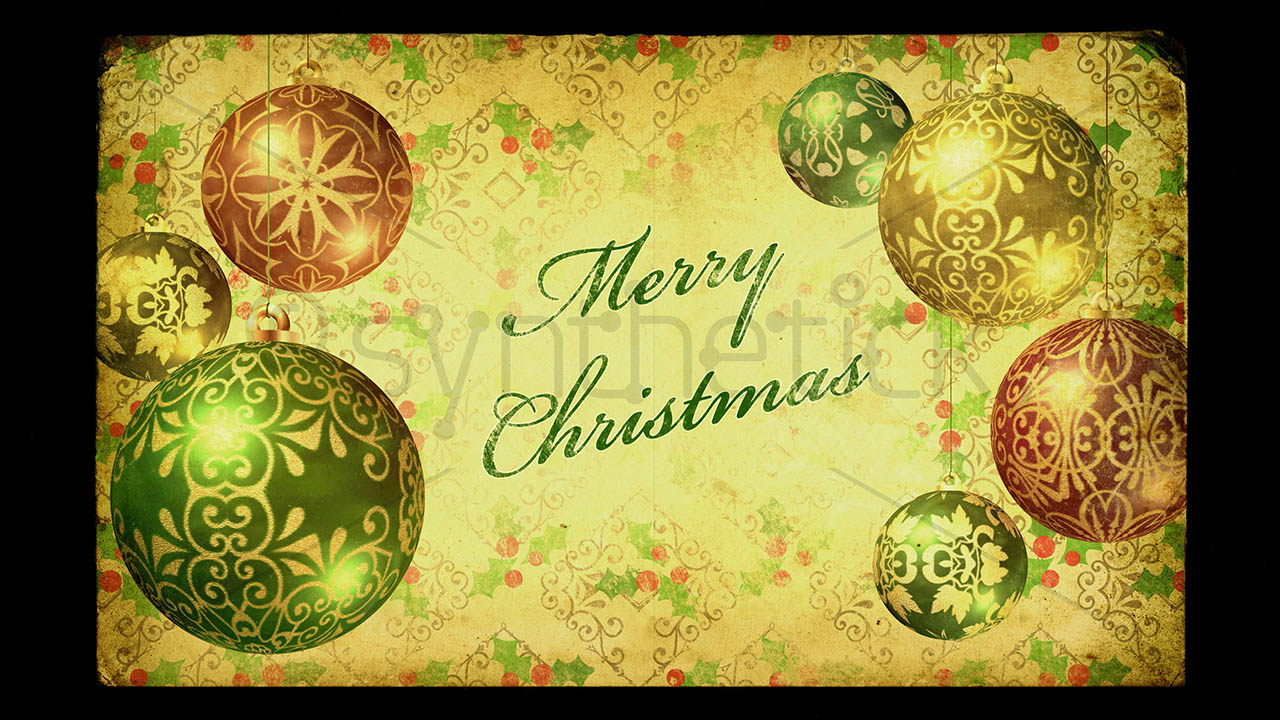 Vintage Merry Christmas Stock Video Footage Synthetick