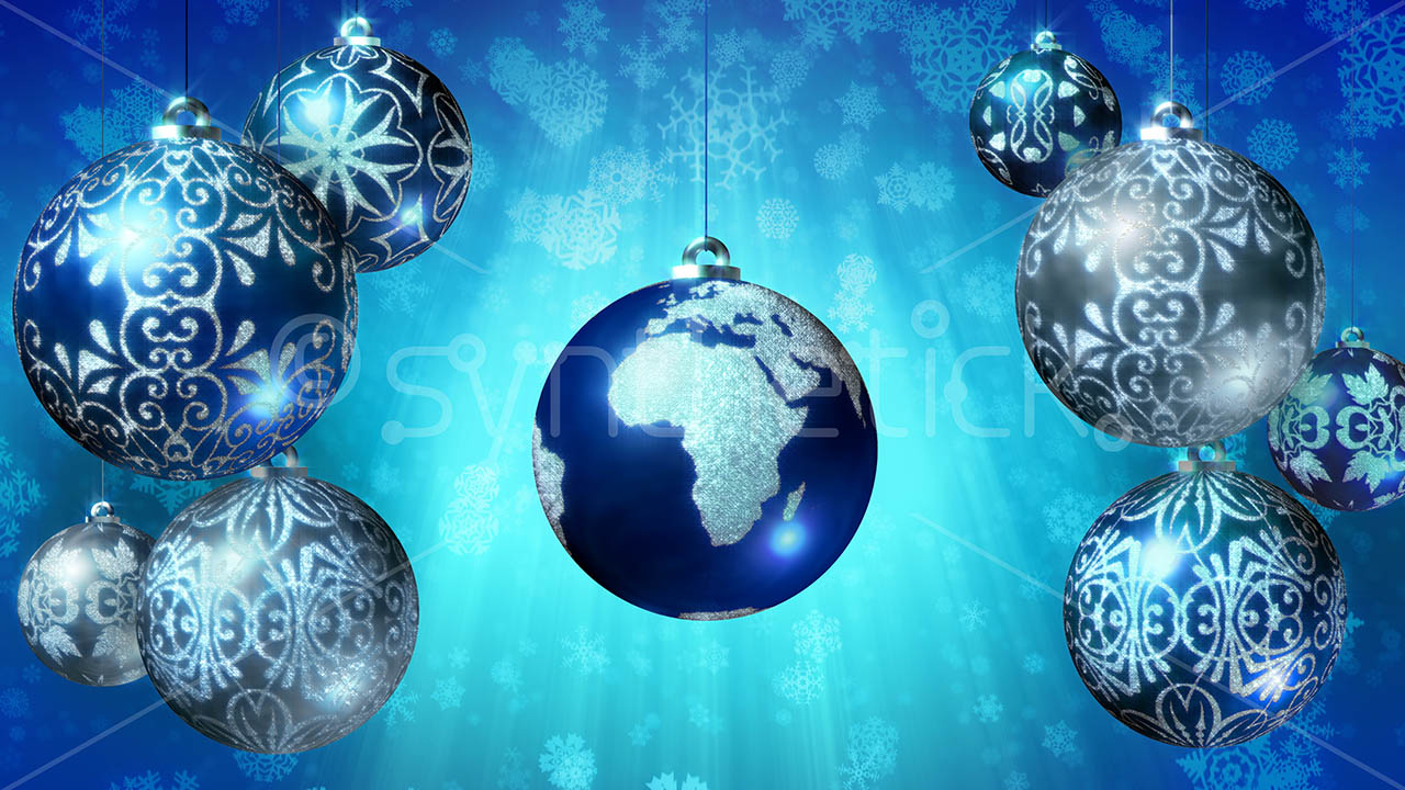 Earth Christmas Ball Blue Stock Video Footage Synthetick