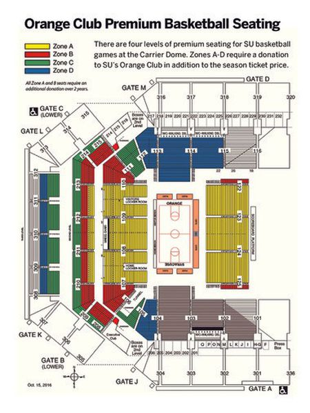 Syracuse Orange Seating Chart at the Carrier Dome | TickPick