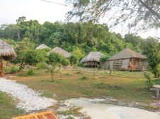 Bungalows in front of the beach and at foot hill (island), Koh Rong
