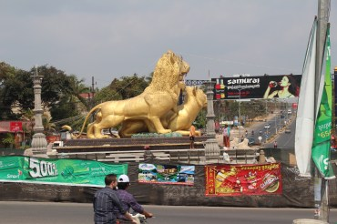 Two-lion statue near Koh Rong boat ticket office, Sihanouk Ville